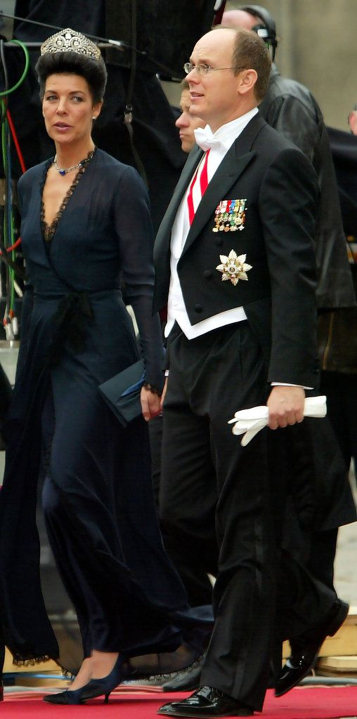 Fürstin Caroline von Hannover and her brother, Prince Albert II of Monaco, arrive to attend the wedding between Danish Crown Prince Frederik and Miss Mary Elizabeth Donaldson in Copenhagen Cathedral May 14, 2004
