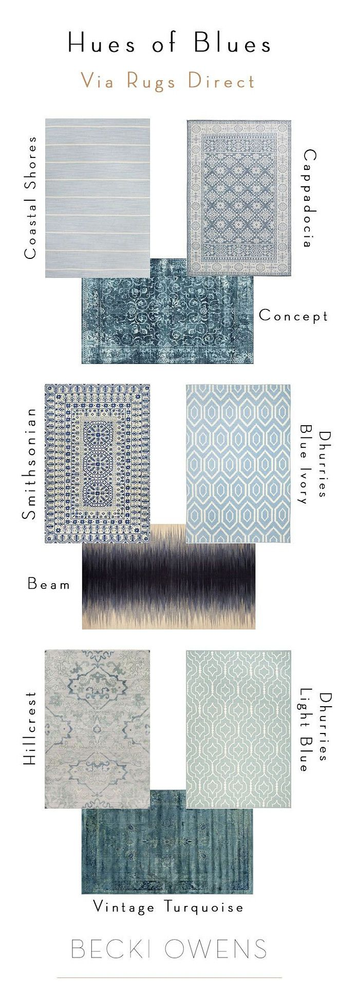 Blue Rugs. Buying Blue Rugs. How to choose the best Blue Rugs. #Blue #Rug #BlueRug Becki Owens.