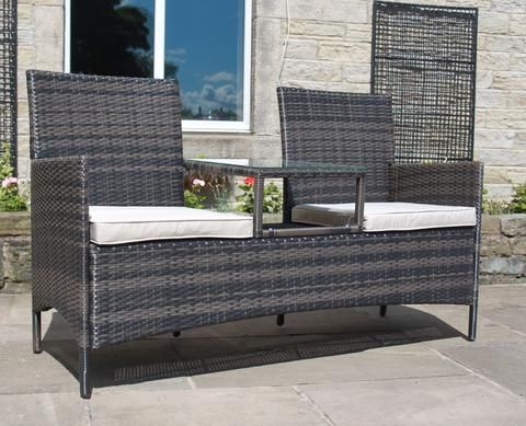 Rattan Outdoor Garden Furniture Duo Chair With Table In Mixed Brown    Modern Furniture Deals