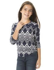 RIPE Contrasted Print T-shirt with Bat Sleeve and Round Trim for Girls
