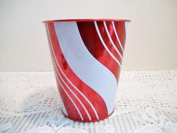 Candy Cane Tin Bucket Christmas Home Decor