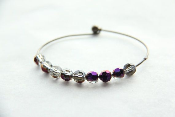 Gun metal coloured wire bracelet by Somsri on Etsy, $13.00 #somsri #Jewelry #Jewellery #Stone #Crystal #Handmade #Handmadejewellery #Handmadejewelry #Gemstone  #Purple #Purplebracelet   #Beaded #Bracelet #Beadedbracelet #Crystalbeads #Wire #Wirebracelet