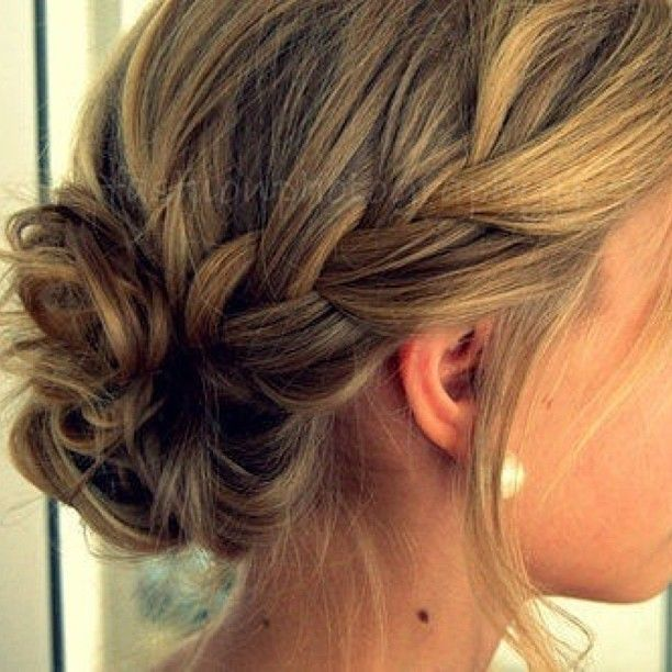 How to: french braid into messy bun.. Too bad my hair would fall out in like .5 seconds.