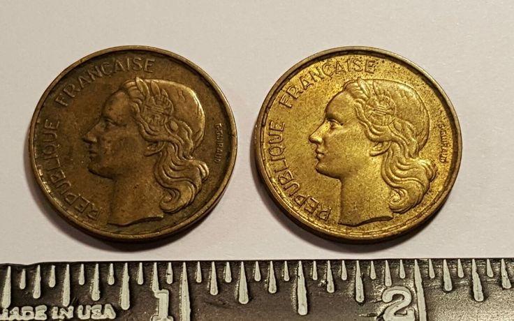 "1952 1953 20 FRANC COIN ROOSTER ~LOT OF~ ""LIBERTE EGALITE FRATERNITE"""