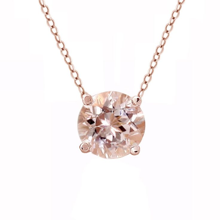 Solitaire+Round+1+Carat+Morganite+Necklace+in+14k+Rose+Gold+Choker+w/+13-16+inch+#FancySpecialOccasions+#CollarChokerorPendantNecklace