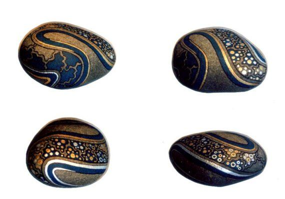 Unique Hand Painted Rock 3D Art Object Signed by IshiGallery