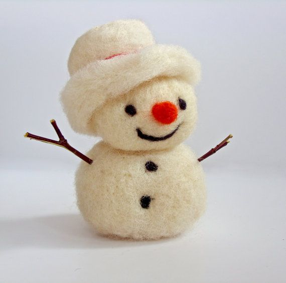 Snowman Christmas ornament needle felted by sweetbabycribmobile, $18.00