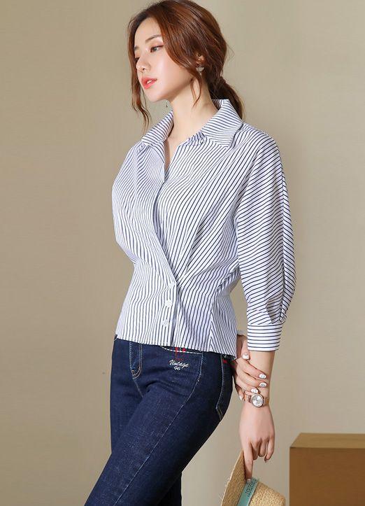 ab4790ad3c24 Pinstripe Dolman Sleeve Wrap Collared Blouse in 2019 | MODA | Fashion,  Collar blouse, Blouse designs