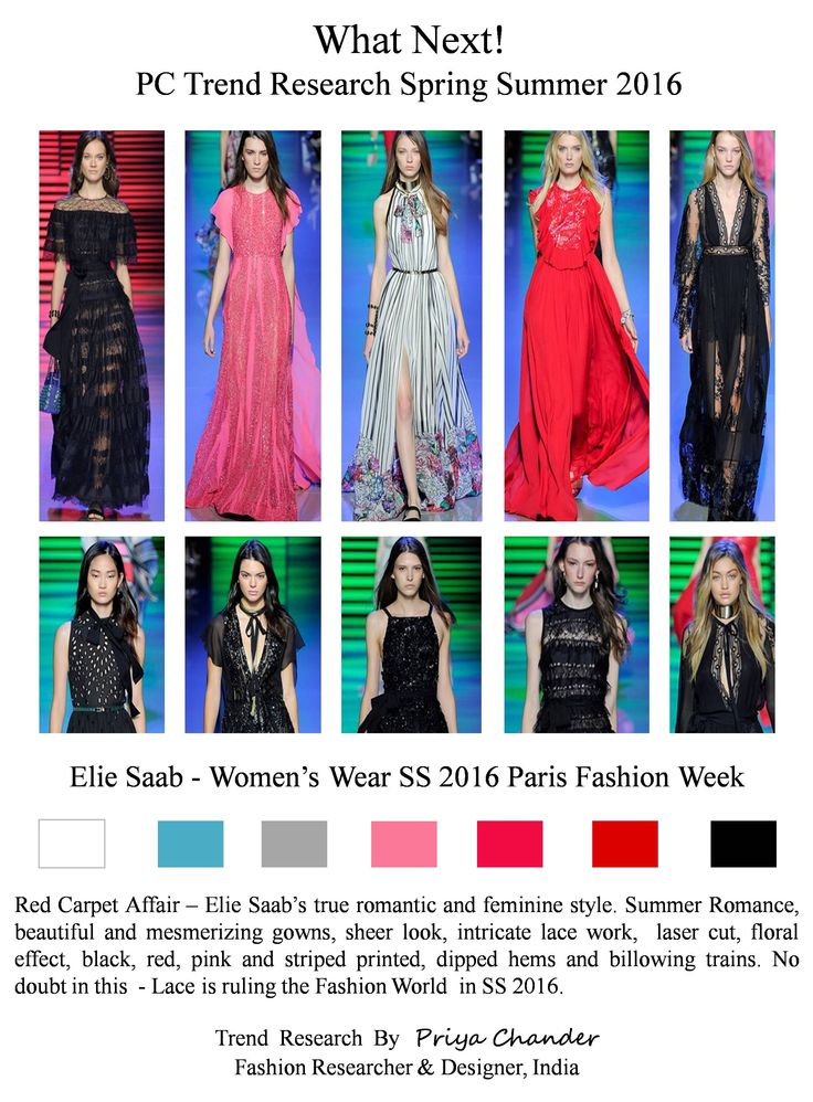 #ElieSaab #PFW #SS16 #eliesaab #redcarpetaffair #pctrendresearch #Milan #gowns #sheerlook #intricatelacework #lasercut #floraleffect #womenswear #womensfashion #fashionindustry #lacetrends #fashiontrends2016 #black #pink #red #stripedprinted #dippedhems #billowingtrains #beautifulgowns #Parisfashionweek