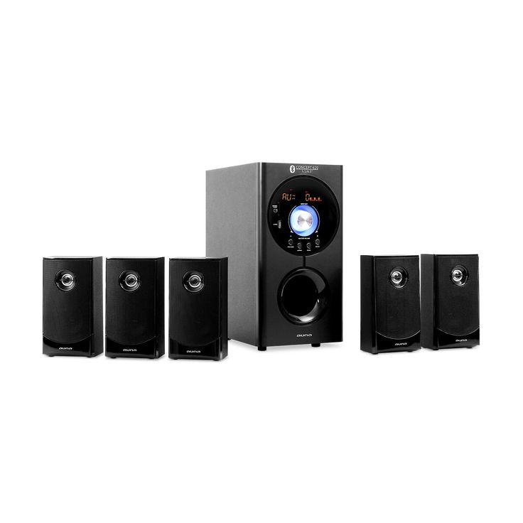 auna Concept 620 5.1 Surround Sound Home Theater Speaker System • Bluetooth • Subwoofer • 5 Satellite Speakers • USB-Port • SD-Slot • AUX • Remote Control • Up to 200 Watt • Black