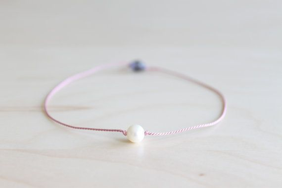 Wish bracelet/ minimalist pearl bracelet/ silk by HandsLoveJewelry