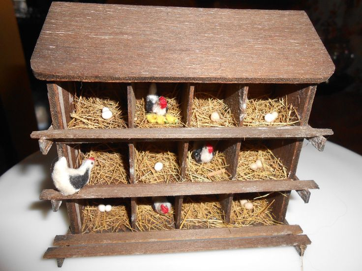 Artisan made CHICKEN COOP WITH CHICKENS signed country rustic antique style 1:12 scale