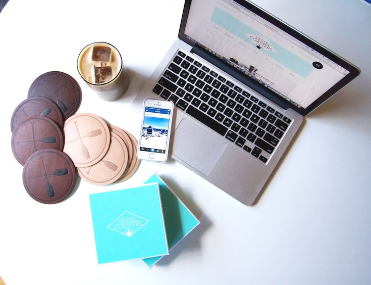 The Vessel Coasters set-up! Featuring the Paddles Coaster in Tan and Rustic Brown Leather.