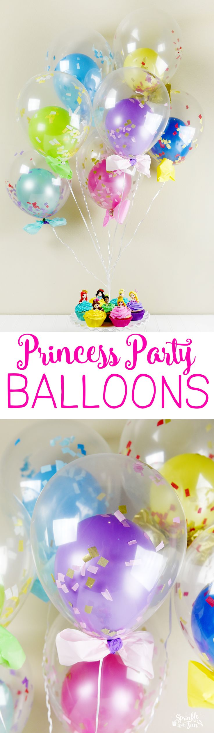 These princess party balloons have a bright colored ballon inside of a clear balloon, confetti and bows to match each princess.