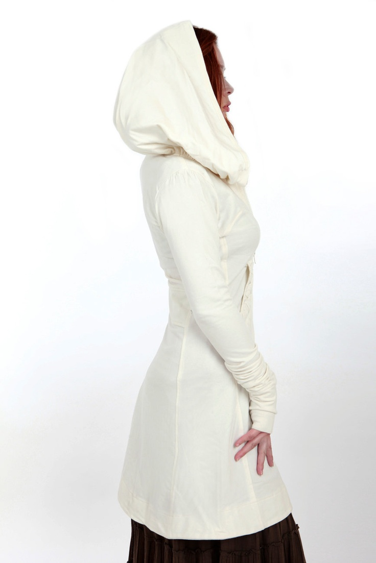 White women hoodie, long classy  silhouette perfect for any weather. $148.00, via Etsy.