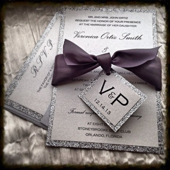 Wedding Invitations, Silver Glitter Wedding Invitation and RSVP Set ribbon tag