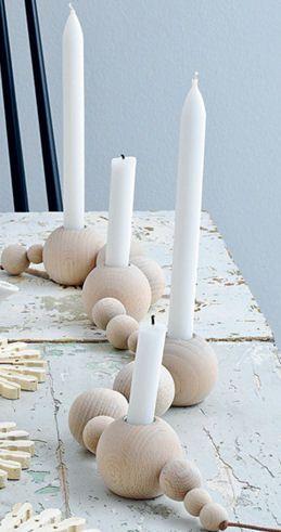 Advent/Weihnachten - Kerzenhalter Holzperlen - - - - kandelaar van grote houten kralen