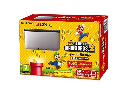 Nintendo Handheld Console 3DS XL - Silver and Black Limited Edition with New Super Mario Bros. 2