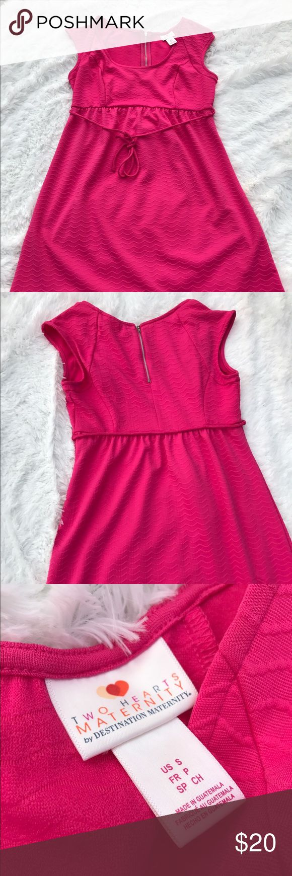 Two Hearts Maternity Dress Pink maternity dress with belt and silver zipper on the back. Can be worn with heels or sandals Dresses Midi