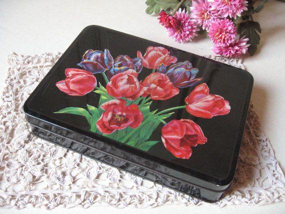 Ancienne boîte à biscuits en fer blanc / Décor tulipe rose / Boîte à gâteaux en métal, tôle étain / Cuisine rétro /Collection Vintage France