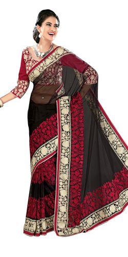 Vibrant Black and Red Net Saree to Bangalore, Karnataka Rs. 6490 / USD 108.17