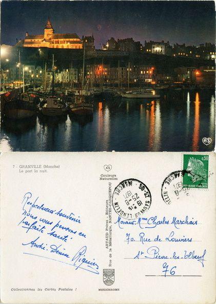Granville - Le port la nuit, l'église illuminée - 1971 (from http://mercipourlacarte.com/picture?/179) Artaud Frères Éditeurs Nantes-Carquefou