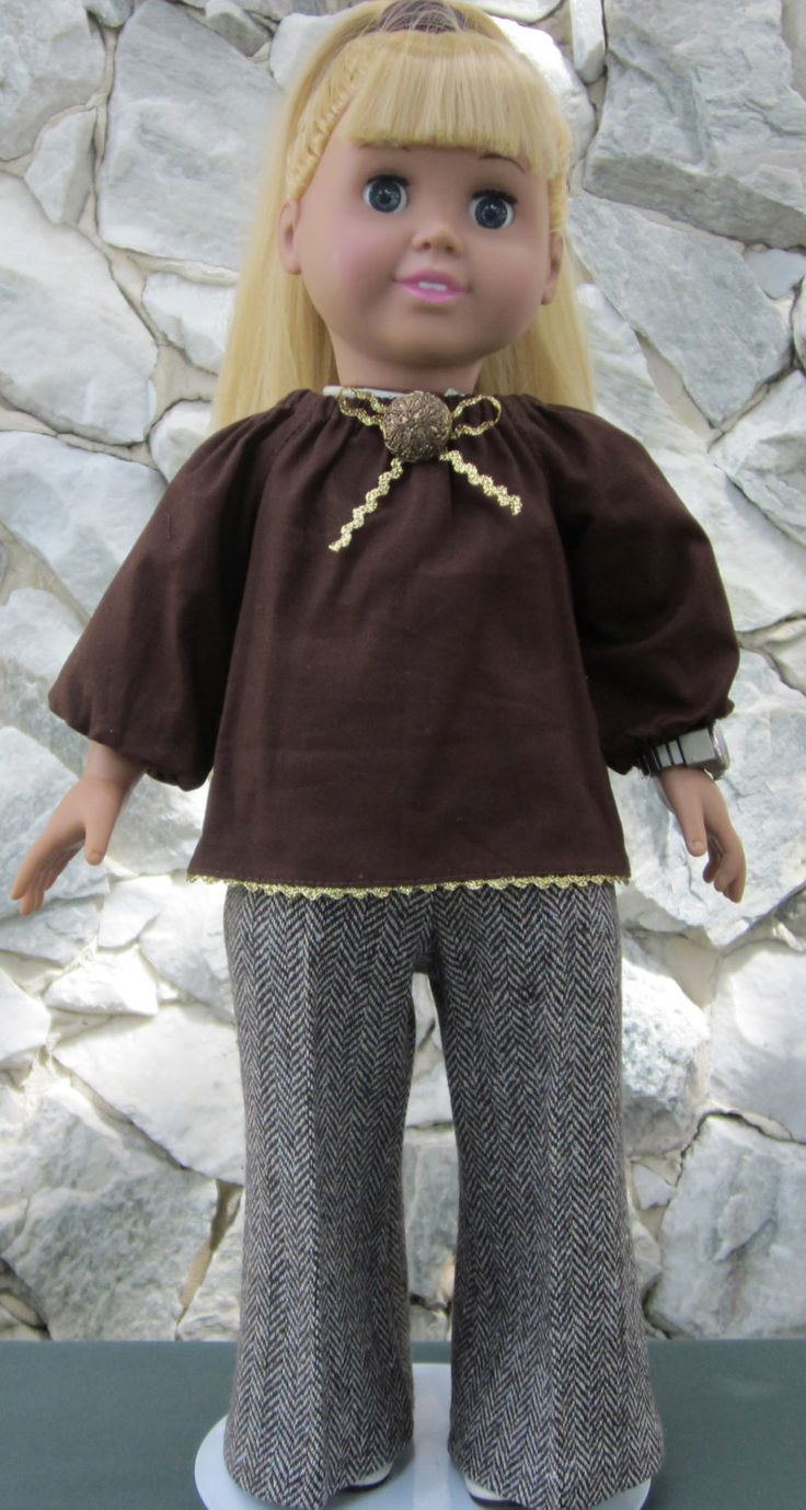 """Brown 2-piece pant outfit for an 18"""" doll. (17.00 USD) by TinaDollDesigns"""