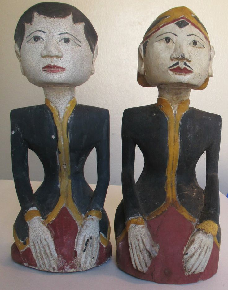 "Loro Blonyo Wedding Couple Figurines 12"" Wood Carving Javanese Indonesian Gift"