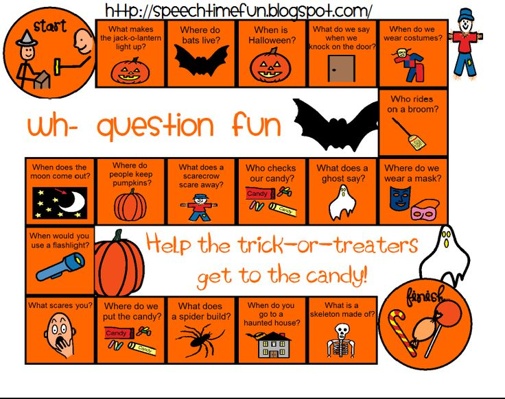 speech time fun halloween wh board game freebie - Esl Halloween Games