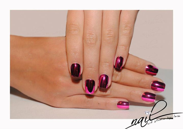 nails manicure  tips mettalic purple