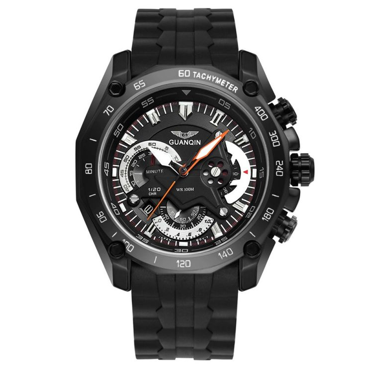 GUANQIN 100m Waterproof Fire Resistant 24-Hour Date Display Stopwatch Chronograph Men Sports Wrist Watch Black