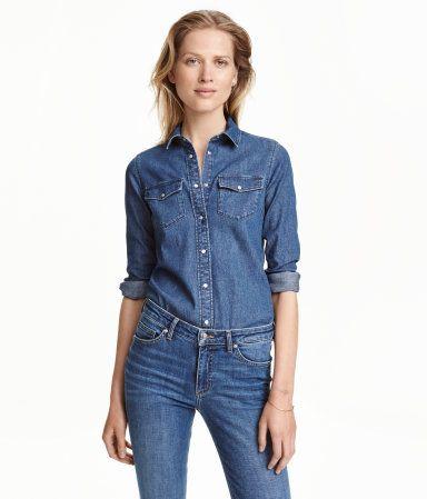 Fitted Denim Shirt   Denim blue   Ladies   H&M US
