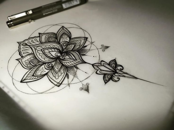 Black Mandala Flower Tattoo On Forearm