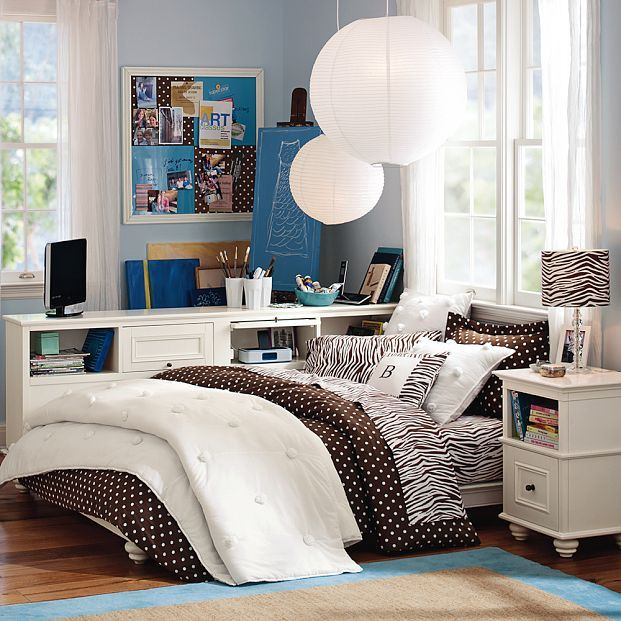 Teen Room, Blue Dorm Room Black And White Table Lamp Glass Window White Pendant Lamp Blue Wall White Curtains Single Bed Pillow Laminate Flo...