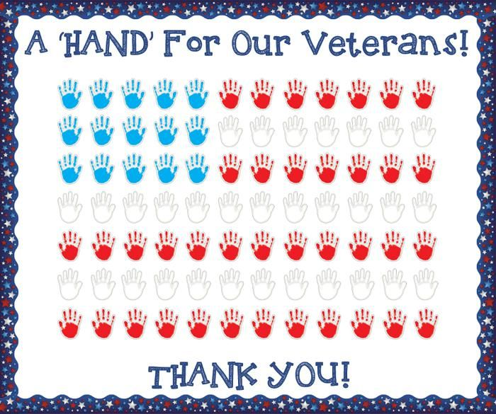 Fun hand print craft for kids and classroom bulletin board idea for Veterans Day! Learn how to make it and find more great Veterans Day ideas here: http://www.mpmschoolsupplies.com/ideas/1816/a-hand-for-our-veterans-veterans-day-bulletin-board/