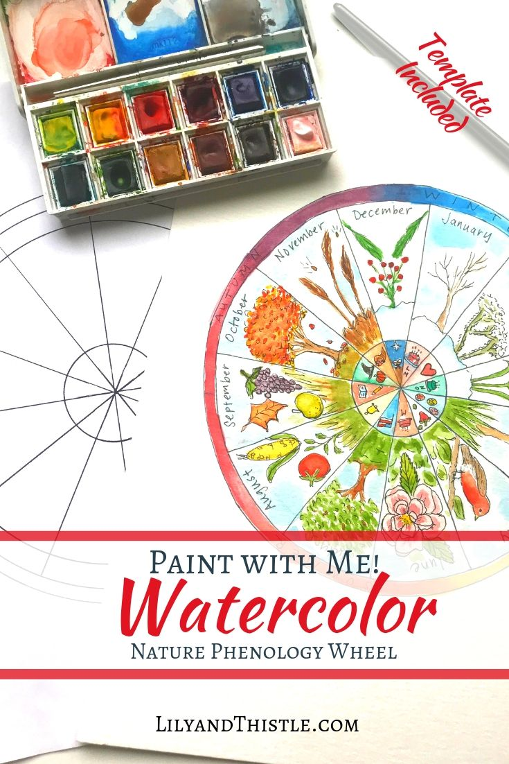 Watercolor Phenology Wheel Tutorial With Free Template Nature