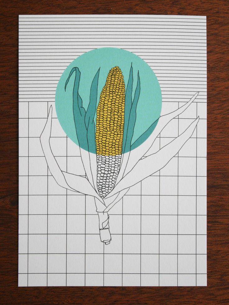 Postcard - polypodium - graphic design - illustration - Mais - corn