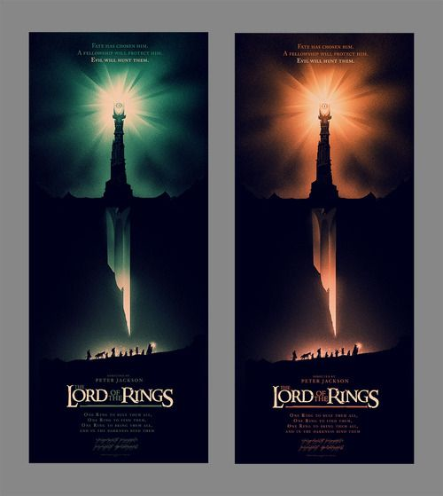 I had the pleasure of working with Warner Bros and Mondo on some new Lord of the Rings posters to celebrate their latest trip to Middle Earth.  There's a regular (green) edition of 580 and a variant (orange) edition of 285. Both are screen printed by the fine chaps over at DL.  They're available tomorrow from here.