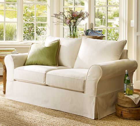 Sectional Sleeper Sofa PB Comfort Slipcovered Loveseat Pottery Barn small size and changeable slip cover for the