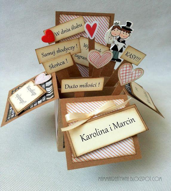 Ręcznie robione życzenia z okazji ślubu. Życzenia w pudełku. rozkładana kartka 3D. Handmade popupboxcard with wedding wishes.