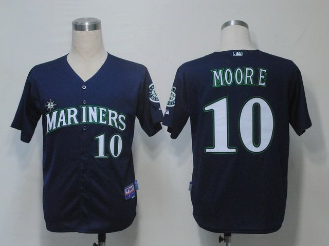 mens mlb seattle mariners 10 moore navy blue jersey