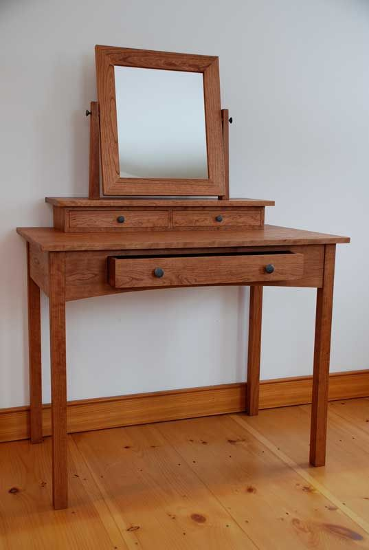 Handmade Solid Cherry Hardwood Dressing Table, Mission Style With Three  Hand Cut Dovetail Drawers And A Swivel Mirror.