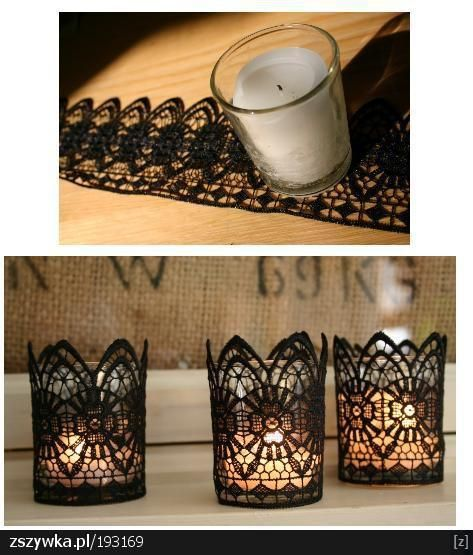 Add lace to boring $ store candles to make them look amazing in whatever color you like. Could also bring the lace I'm feeling into the centerpieces....hmmm not black of course