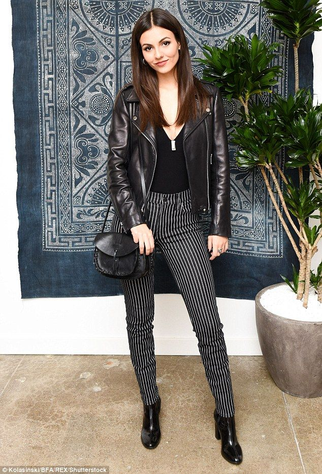 Racy rocker vibes! Victoria Justice, 23, who made sure to turn heads as she flashed a hint...