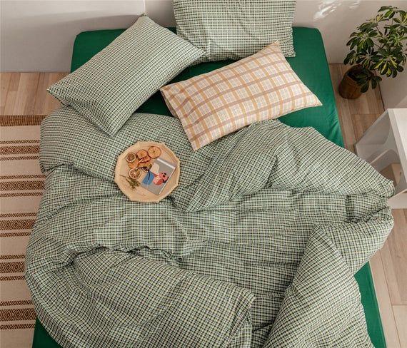 Concise Style Cute Mint Green Lattice Duvet Cover Set 100 Etsy Duvet Cover Sets Cotton Bedding Sets Cotton Duvet Cover