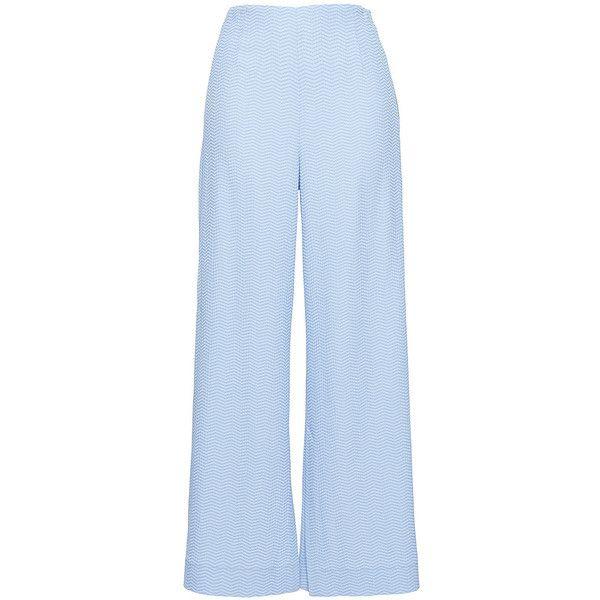 Roland Mouret Glover Chevron Trousers (3 970 SEK) ❤ liked on Polyvore featuring pants, roland mouret, purple, wide leg pants, highwaist pants, blue trousers, high waisted pants and blue wide leg pants