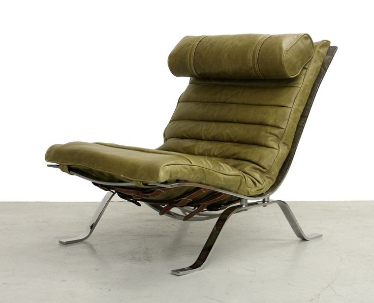 Mid Century Swedish Chrome and Leather Lounge Chair by Arne Norell   eBay