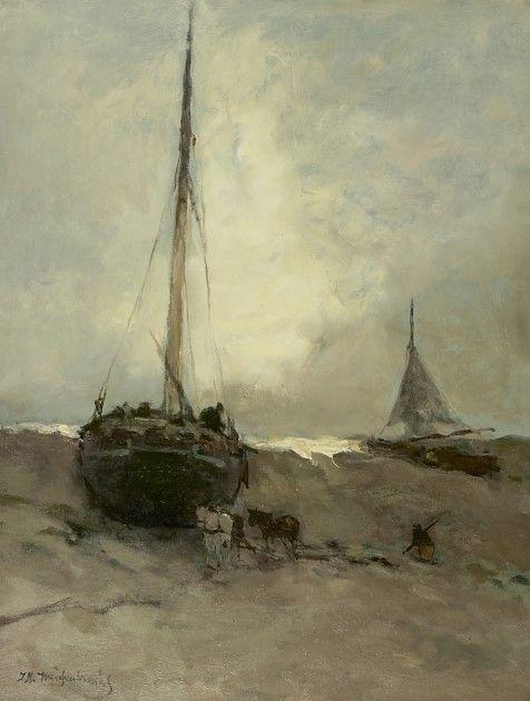 Hendrik Johannes 'J.H.' Weissenbruch (Den Haag 1824-1903) Bomschuiten op het strand -