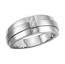 .12 ct. t.w. Diamond Stainless Band - 9mm 10.5