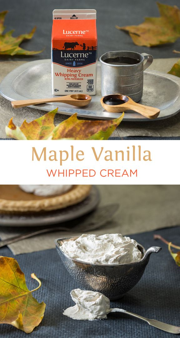 Maple Vanilla Whipped Cream - You will fall in LOVE with this whipped cream! So good and easy! Great for any pies, desserts, or PANCAKES!